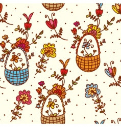 baskets floral vector image vector image