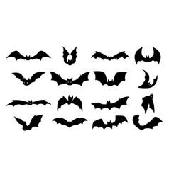 bat silhouettes halloween flying night creatures vector image