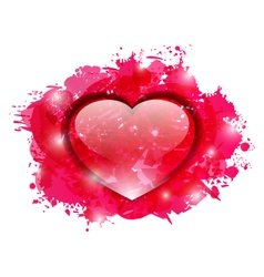 Beautiful glassy heart on grunge pink blobs for vector
