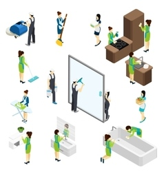 Big Cleaning isometric Pictograms Composition vector image