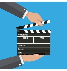 Black opened clapperboard in hands vector