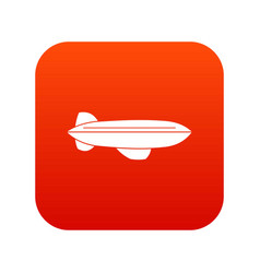 Blimp aircraft flying icon digital red vector