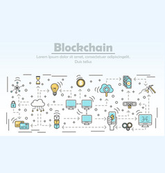 Blockchain technology advertising vector