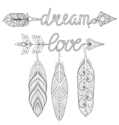 Bohemian dream love arrows set with feathers vector