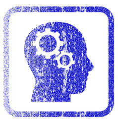 Brain gears framed textured icon vector