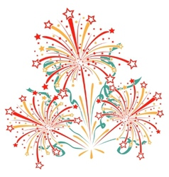 Bursting fireworks with tinsel streamers and vector