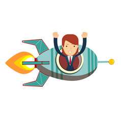 business woman in a rocket business start up vector image