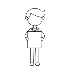 Businessman character avatar with label icon vector