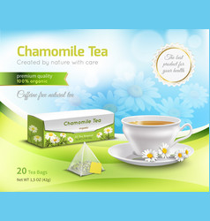 chamomile tea advertising realistic composition vector image