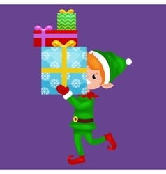 Christmas elf isolated stack of gifts in box in a vector image