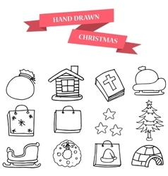 Christmas winter icons set vector