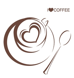 Coffee 4 Coffee cup with plate and spoon vector