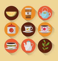 Coffee and tea time set teapot coffee maker cups vector