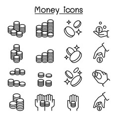 coin hand icon set in thin line style vector image