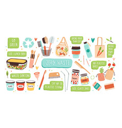 collection of zero waste durable and reusable vector image
