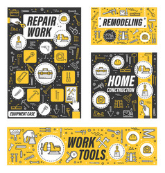 Construction work tools house repair remodeling vector