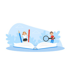 cute boy and girl writing at exercise book kids vector image
