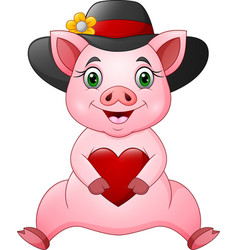 cute pig cartoon in hat with holding a heart vector image