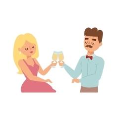 Dating couple in restaurant vector