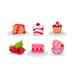 Desserts and pastries with ripe raspberries vector