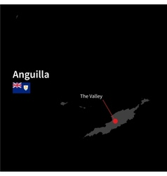 Detailed map of Anguilla and capital city The vector image