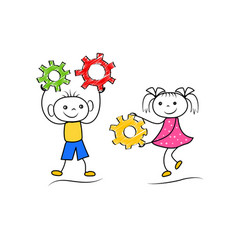 doodle boy and girl teamwork isolated on white vector image