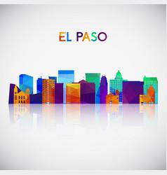 El paso skyline silhouette in colorful geometric vector