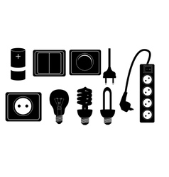 Electric accessories silhouette icons vector image