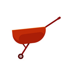 Empty red wheelbarrow cart - symbol of farm vector
