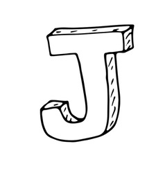 English alphabet - hand drawn letter J vector image