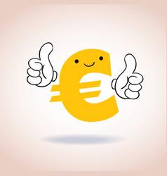 Euro sign thumbs up mascot cartoon character vector