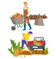 Farming person on plantation transporting veggies vector