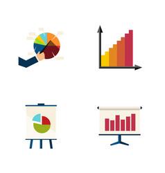 Flat icon chart set of graph monitoring segment vector