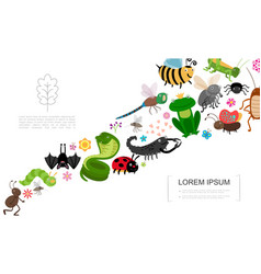 Flat insects and animals concept vector