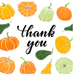 frame hand drawn pumpkin thank you hand drawn vector image