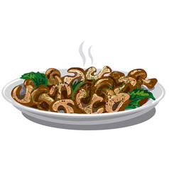 Fried boiled mushrooms vector