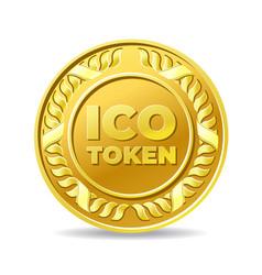 Golden ico token coin icon vector