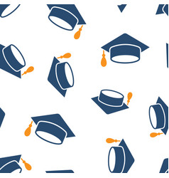 graduation cap icon seamless pattern background vector image