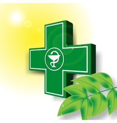 Green medical cross emblem vector