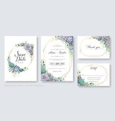 greenery succulent wedding invitation card vector image