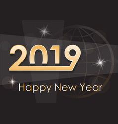 greeting card for the new year 2019 on a dark vector image