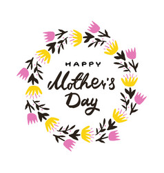 greeting card with mother s day with wreath of vector image