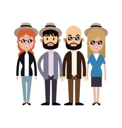 Group people hipster hat sunglasses beard vector