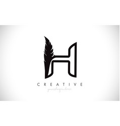 H feather letter logo icon design with feather vector