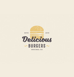 Hand drawn logo burger silhouette and modern vector