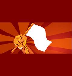 hand holding white blank flag symbol surrender vector image