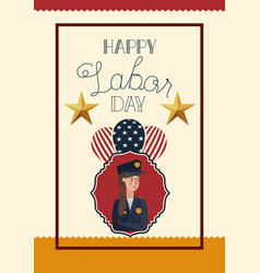 happy labor day card with woman police and vector image
