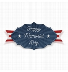 Happy Memorial Day Label with Text vector
