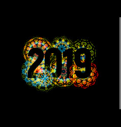 happy new year 2019 theme with fireworks chinese vector image