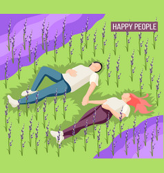 happy people isometric background vector image